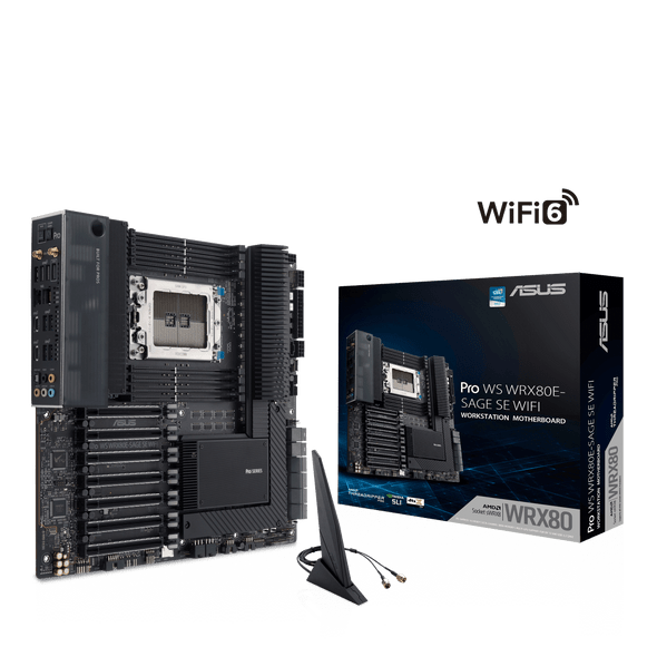 Asus Pro WS WRX80E-SAGE SE WIFI AMD WRX80 Ryzen™ Threadripper™ PRO extended-ATX workstation motherboard with Intel dual 10 G LAN, USB 3.2 Gen 2x2 Type-C port, 7 x PCIe 4.0 x16 slots, 3 x M.2 PCIe 4.0, ASMB9-iKVM, 2 x U.2 and 16 power stages| Pro WS WRX80E-SAGE SE WIFI