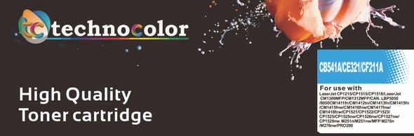TechnoColor 128A HP Compatible LaserJet Toner Cartridge BLACK, CYAN, MAGENTA, YELLOW, CE320A, CE321A, CE322A, CE323A