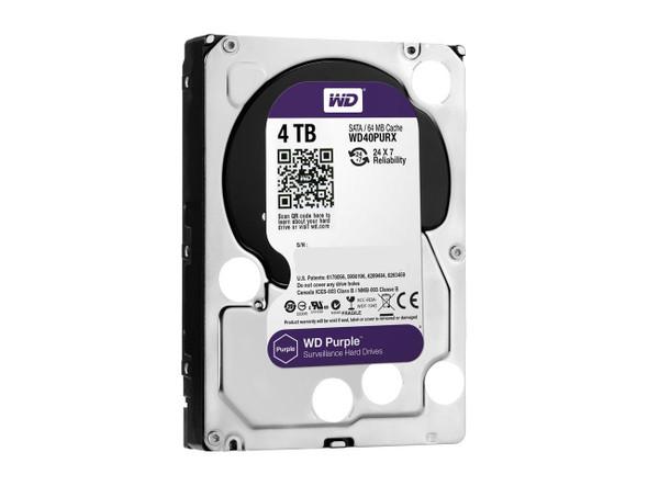 WD Purple 4TB Surveillance Hard Disk Drive - 5400 RPM Class SATA 6Gb/s 64MB Cache 3.5 Inch | WD40PURX