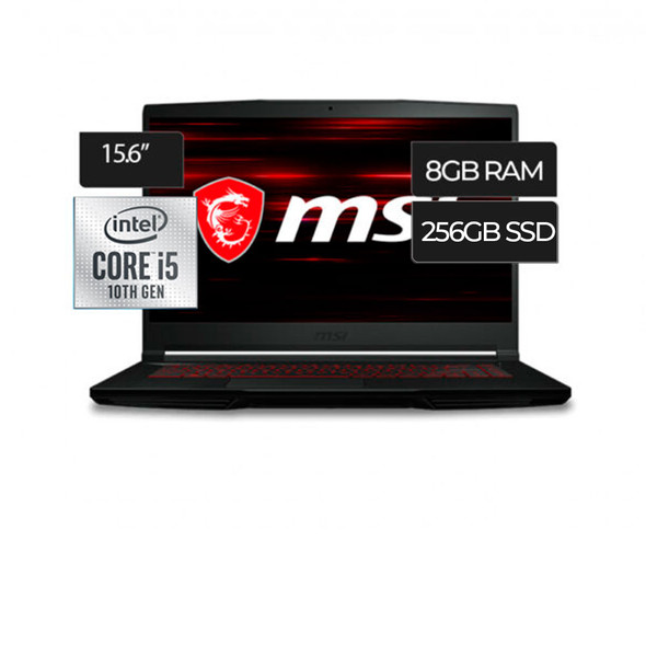 "MSI Laptop GF63 Thin Core i5-10300H 8GB (8G*1) DDR4 2666MHz 256GB NVMe SSD 15.6"" FHD (1920*1080), IPS-Level 60Hz Thin Bezel NVIDIA® GeForce® GTX 1650 Max-Q | GF63-10SC-035"