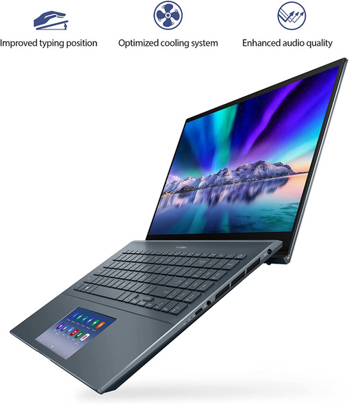 "ASUS ZenBook 15 Ultra-Slim Laptop, 15""FHD Touch Display, Intel Core i7-10750H, GeForce GTX 1650 Ti, 16GB RAM, 1TB SSD, Innovative ScreenPad 2.0, Thunderbolt 3, Windows 10 Pro, Pine Grey   UX535LI-XH77T"