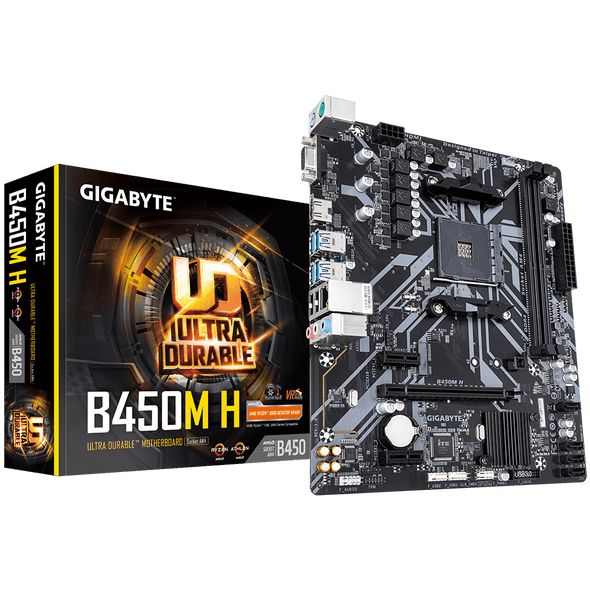 Gigabyte AMD B450 Ultra Durable Motherboard with GIGABYTE Gaming LAN and Bandwidth Management, PCIe Gen3 x4 M.2, 7-colors RGB LED Strips Support, Anti-Sulfur Resistor Design | B450M H