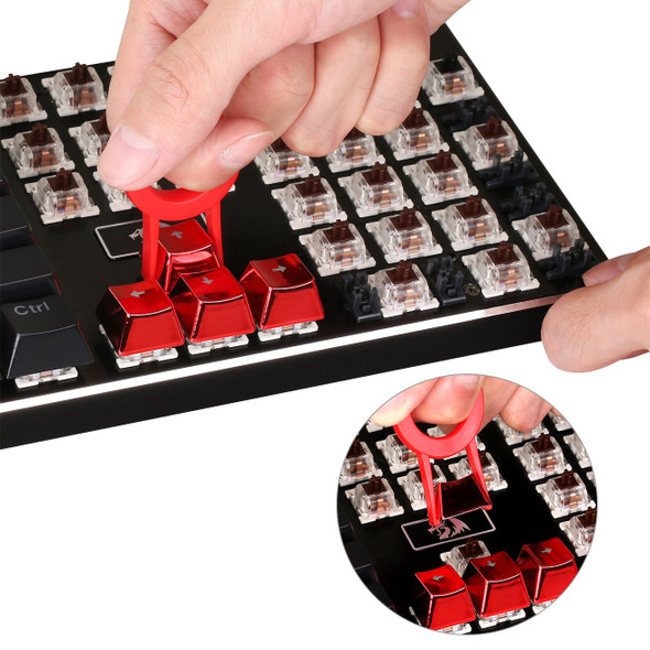 Redragon A103R 12 Keys Double Shot Injection Backlit Metallic Electroplated Red Color Keycaps for Mechanical Switch Keyboards with Key Puller