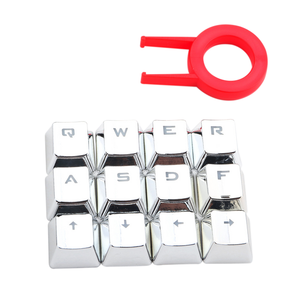 Redragon A103S Mechanical Keyboard Caps 12 Chrome keycaps QWER, ASDF, WASD, Arrow Keys MX Style with Key Puller - Silver Brand: Redragon