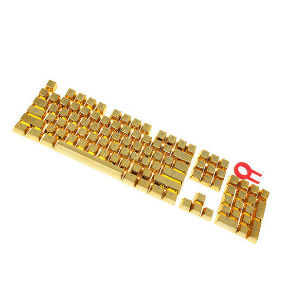 Redragon A101G 104 ABS Double Shot Injection Backlit Metallic Electroplated Gold Color Keycaps for Mechanical Switch Keyboards with Key Puller