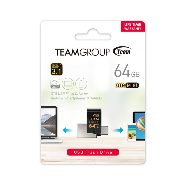 TEAM GROUP OTG FLASH DRIVE M181 USB 3.0 64GB, 128GB TYPE C, Works on Smart phones and Computers