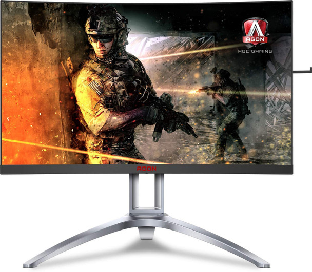 "AOC Agon AG273QCX 27"" Curved Gaming Monitor, 2K QHD, FreeSync 2 DisplayHDR 400, 144Hz, 1ms, Height Adjustable, DisplayPort/HDMI"