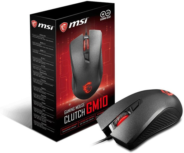 MSI Clutch GM10 USB Adjustable DPI Ergonomic Design Gaming Grade Optical Mouse