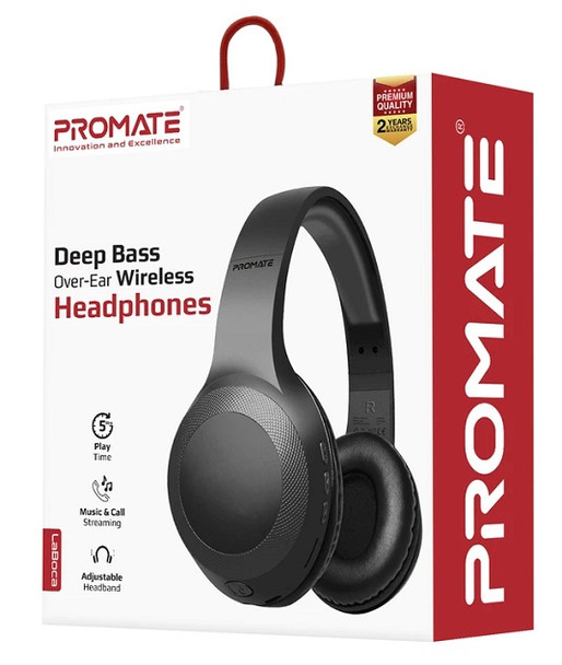Promate LABOCA Wireless Headphone, Powerful Deep Bass Bluetooth v5.0 Headphone with MicroSD Playback, 3.5mm Wired Mode, Hi-Fi Stereo Sound, 5H Playtime, Built-In Mic and Control for Smartphones, LaBoca