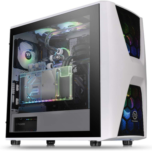 Thermaltake Commander C34 Snow Motherboard Sync ARGB ATX Mid Tower Computer Chassis with 2 200mm ARGB 5V Motherboard Sync RGB Front Fans + 1 120mm Rear Black Fan Pre-Installed CA-1N5-00M6WN-00