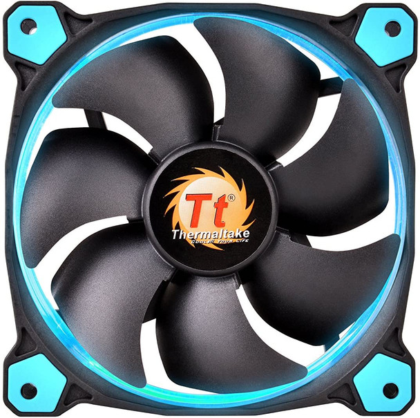 Thermaltake Riing 12 Series Blue High Static Pressure 120mm Circular LED Ring Case/Radiator Fan with Anti-Vibration Mounting System Cooling CL-F038-PL12BU-A