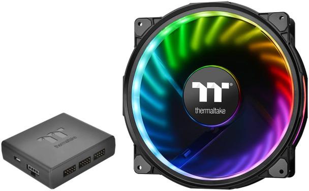 Thermaltake Riing Plus 20 RGB TT Premium Edition w/Controller 200mm Software Enabled Circular 12 Addressable LEDs Sets (24 Addressable LEDs) 11 Blades RGB Riing Case/Radiator Fan CL-F069-PL20SW-A
