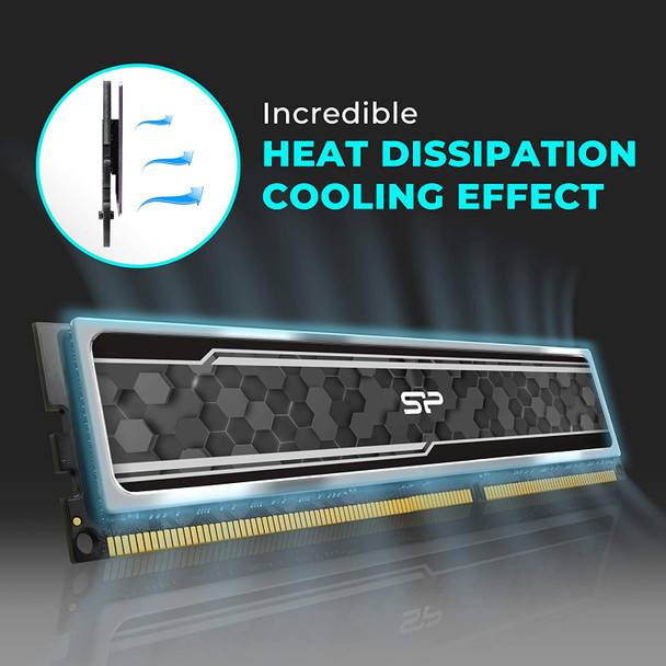 Silicon Power DDR4 16GB (2 x 8GB) RAM 2666MHz (PC4 21300) 288-pin CL19 1.2V Non ECC Unbuffered UDIMM Desktop Memory with Heatsink SU016GBLFU266BD2J5