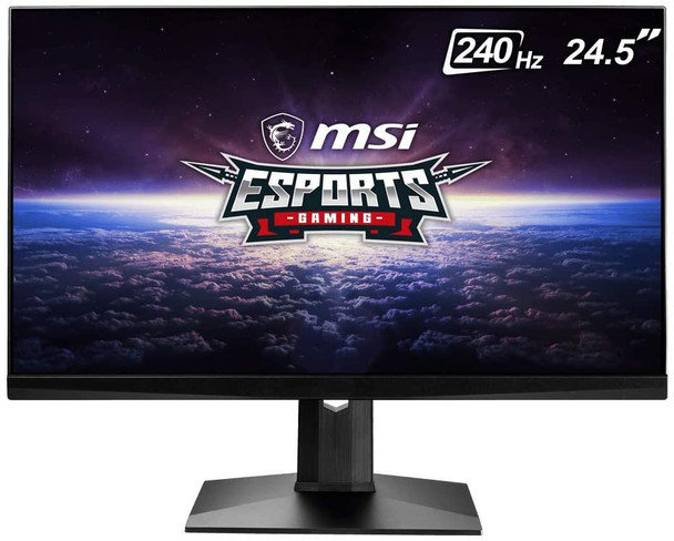 """MSI 24.5"""" FHD (1920 x 1080) Non-glare with Super Narrow Bezel 240Hz 1ms 16:9 HDMI/DP/USB Height Adjustment G-Sync Compatible IPS Gaming Monitor (OPTIX MAG251RX),Black"""