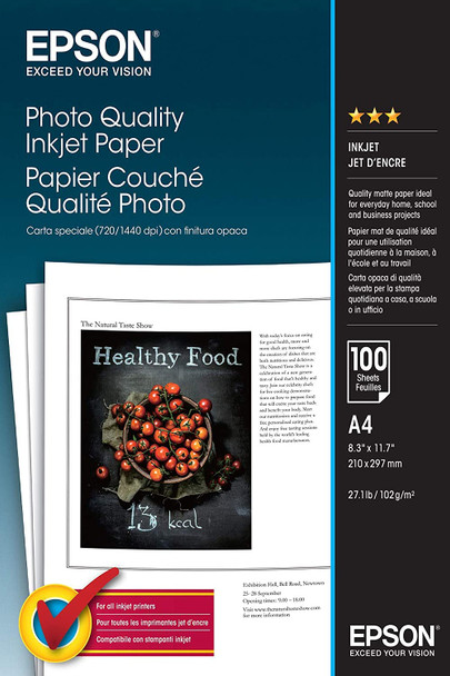 Epson Photo Quality Ink Jet Paper, DIN A4, 102g/m², 100 Sheets | C13S041061