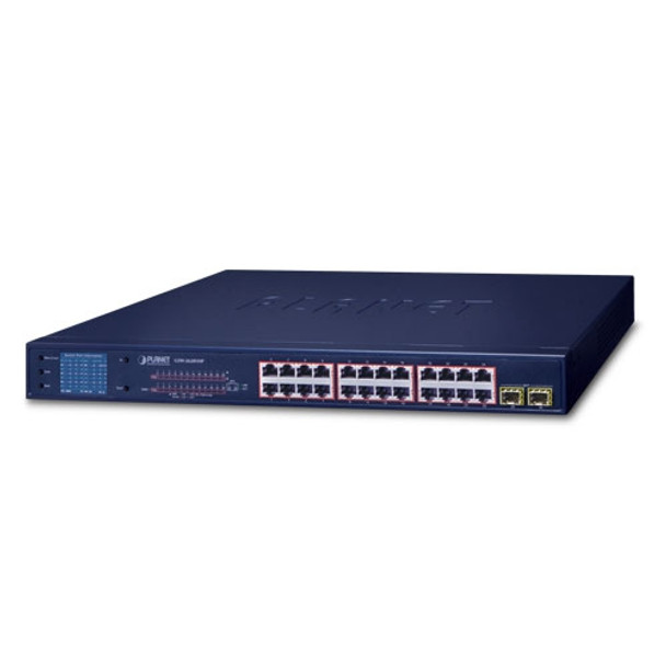 Planet 24-Port 10/100/1000T 802.3at PoE + 2-Port Gigabit SFP Ethernet Switch with LCD PoE Monitor (300W)   GSW-2620VHP