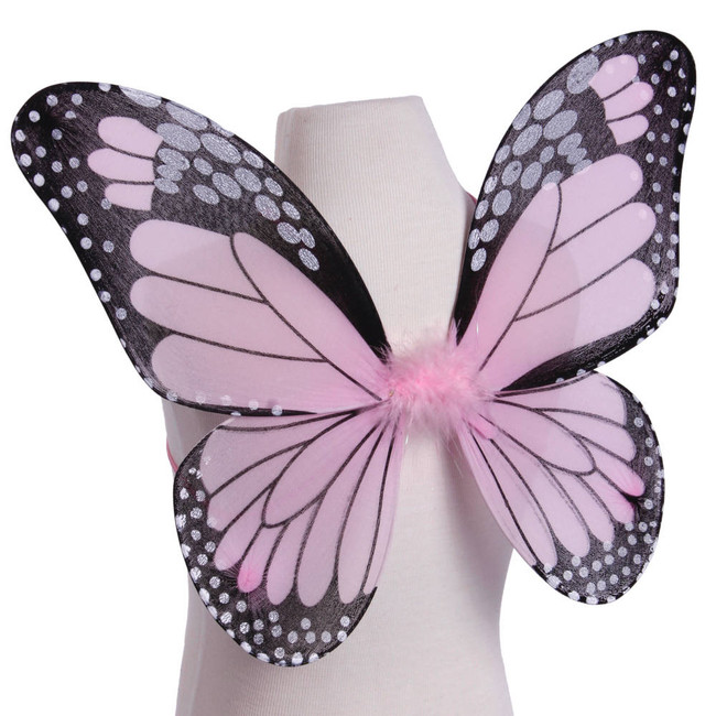 Pink and Black Monarch Butterfly Wings Costume for Kids Side