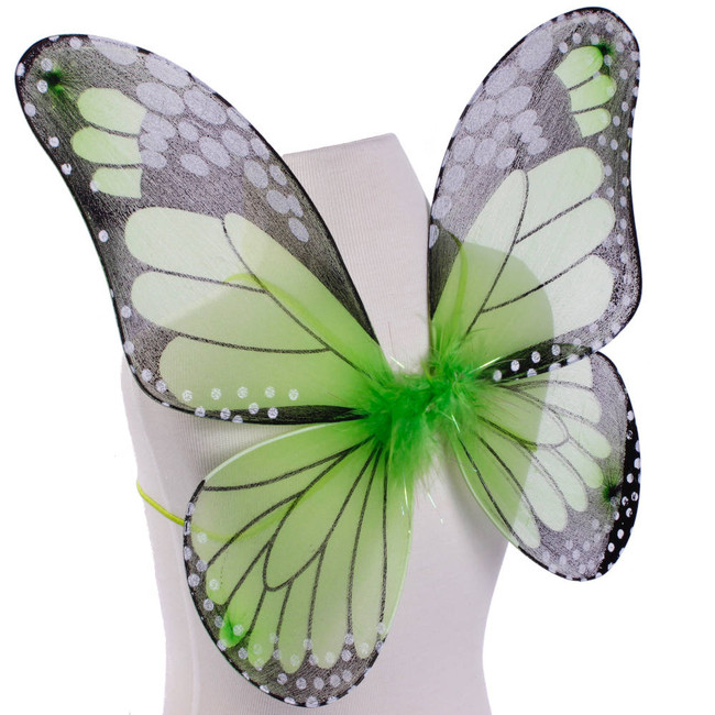Green and Black Monarch Butterfly Wings Costume for Kids Side