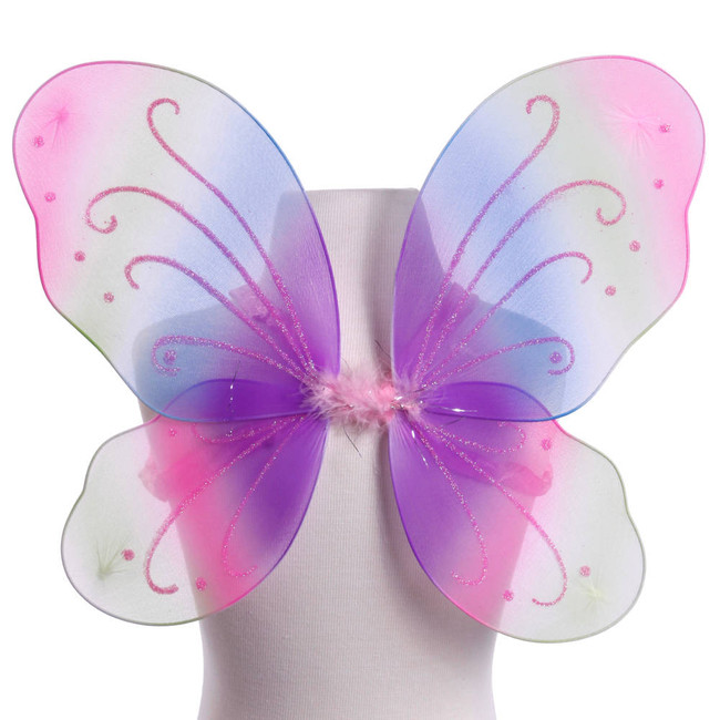 Rainbow Butterfly Fairy Wings With Pink Glitter Costume Front View
