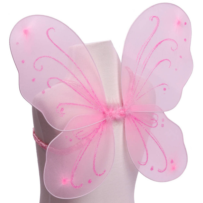Light Pink with Pink Glitter Butterfly Fairy Wings Costume for kids Side