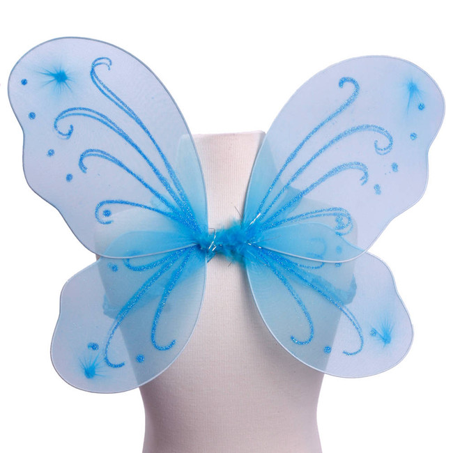 Light Blue with Blue Glitter Butterfly Fairy Wings Costume for Kids Front