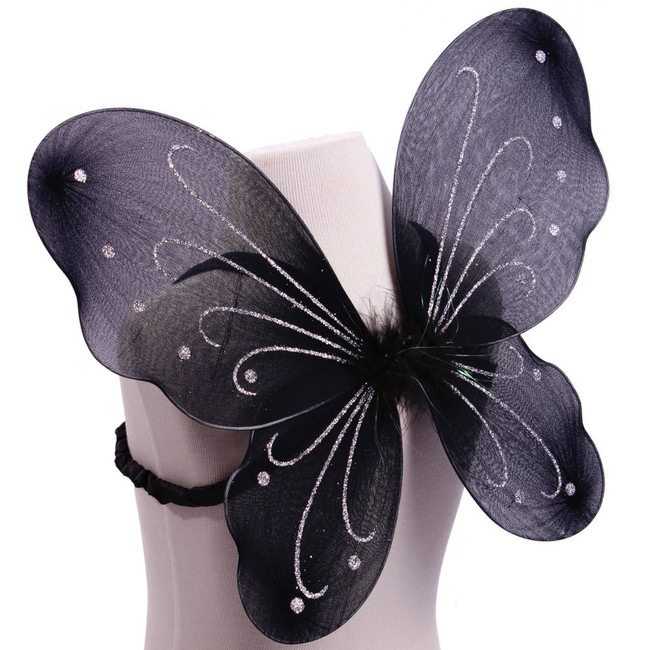 Black with Silver Glitter Butterfly Fairy Wings Costume for kids Side