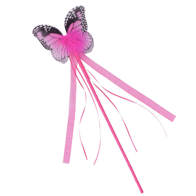 Dark Pink Monarch Butterfly Wand with matching ribbons