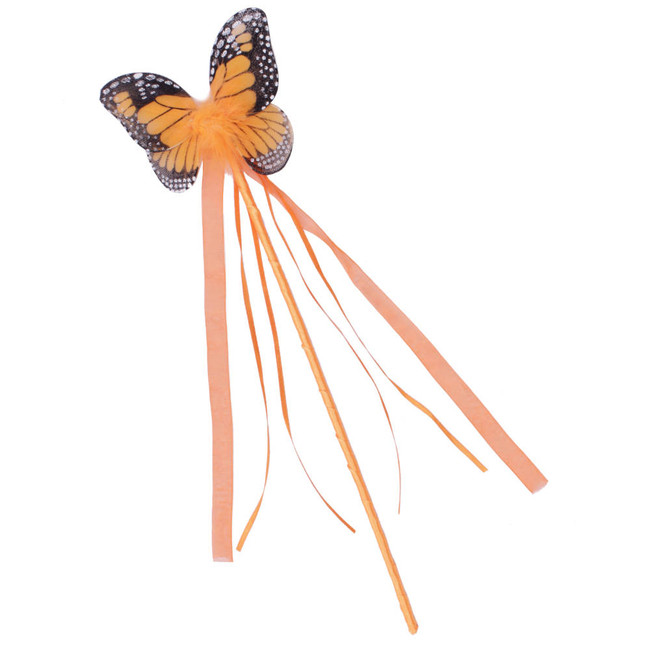 Orange and Black Monarch Butterfly Wand with matching ribbons