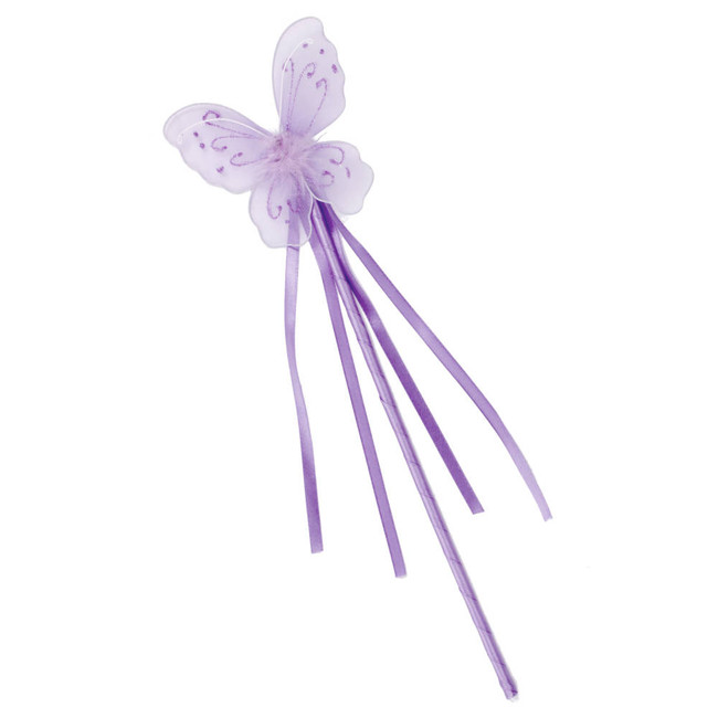 Lavender Butterfly Fairy Wand with Ribbons