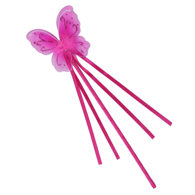 Dark Pink Butterfly Fairy Wand with Ribbons