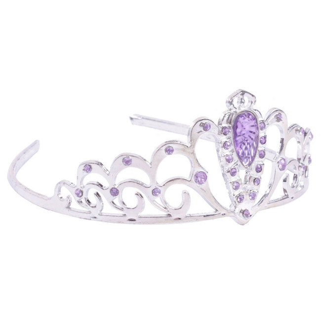 Silver Tiara adorned with Purple Rhinestones Side