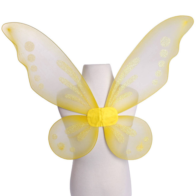 Yellow Pixie Fairy Wings with Yellow Glitter Spots Front View