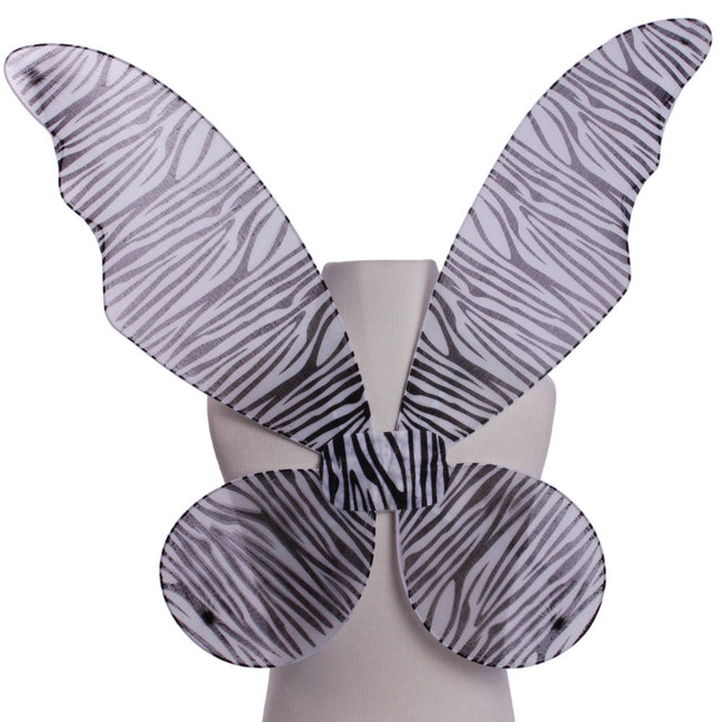 Black and White Zebra Pattern Pixie Fairy Wings Front view