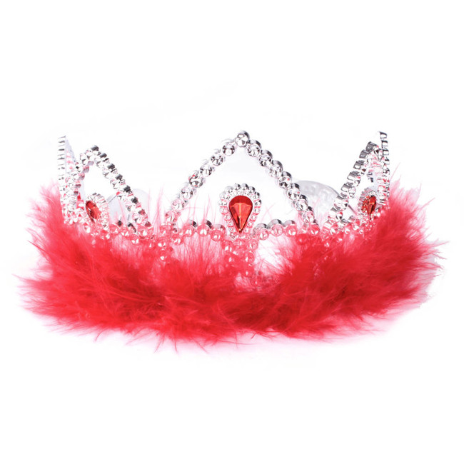 Silver Princes Tiara Crown with Red Feathers Front View