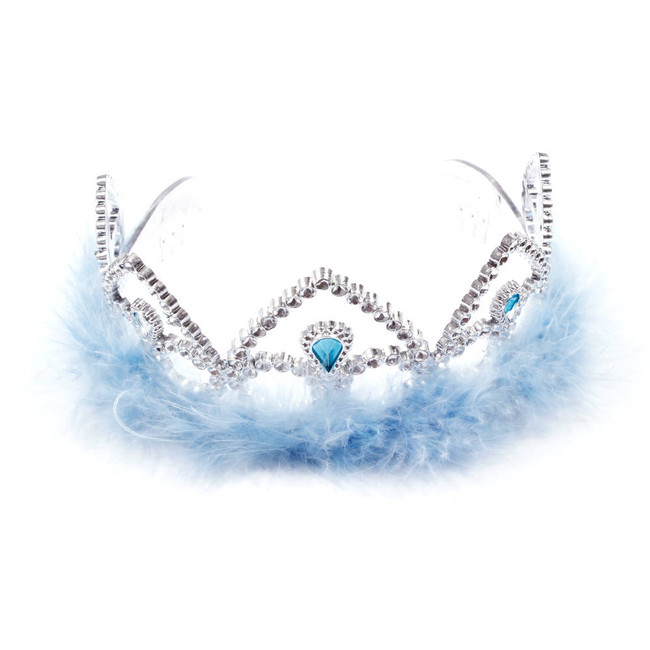 Silver Princes Tiara Crown with light blue Feathers Top View