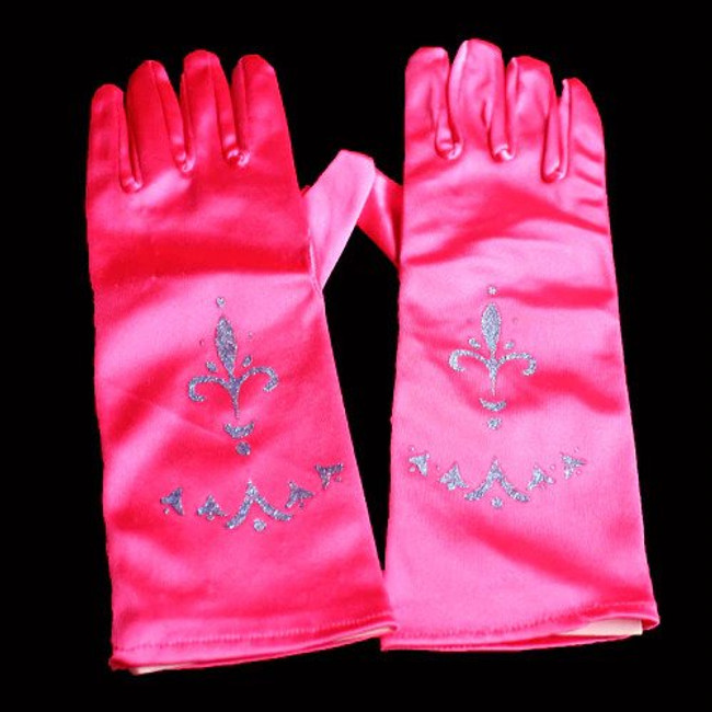 High quality princess gloves Comes in hot pink,  Perfect for little girls dress up or princess costume.  One size fits most.  Fits from young girl to average adult women's hand.  Made with a stretchy durable fabric These princess gloves are a great accessory for a princess birthday party, tea party or costume party.  Don't forget to match them with our butterfly wings, princess tiaras, fairy wands, tutus,  ribbon halos.  Sold by the pair. 10 inches long and 3 inches wide before the stretch.
