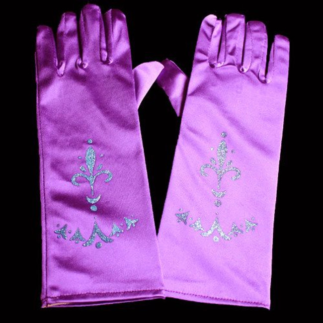 High quality princess gloves Comes in Purple, Perfect for little girls dress up or princess costume. One size fits most. Fits from young girl to average adult women's hand. Made with a stretchy durable fabric These princess gloves are a great accessory for a princess birthday party, tea party or costume party. Don't forget to match them with our butterfly wings, princess tiaras, fairy wands, tutus, ribbon halos. Sold by the pair. 10 inches long and 3 inches wide before the stretch.