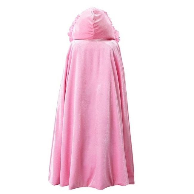 "This Child Sized Hooded Cape is perfect final touch to your little one's costume. Great for Little Red Ridding Hood, Snow White, or whatever your child's imagination takes them!     29"" Long - Approximately a Child's Medium Size light pink Nylon Material Hooded Color Matching Ribbon Tie Fluffy Decorative Edge"