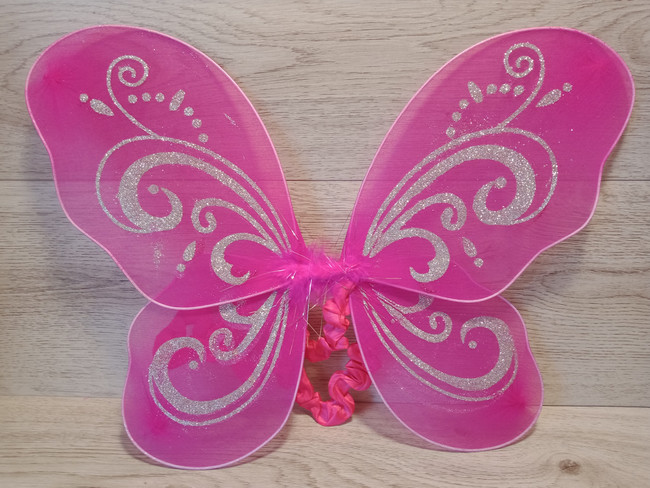Hot Pink Butterfly Wings With Bold Silver Glitter
