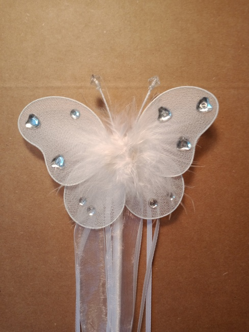 White butterfly wand with silver hearts