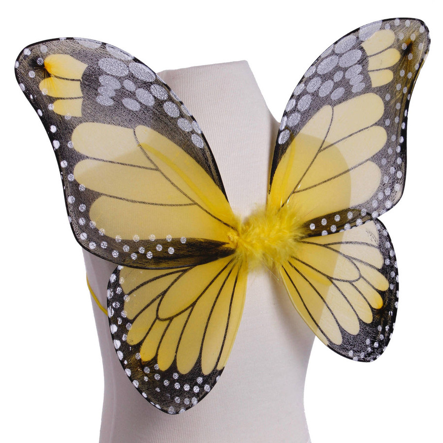 Yellow and Black Monarch Butterfly Wings Costume for Kids Front