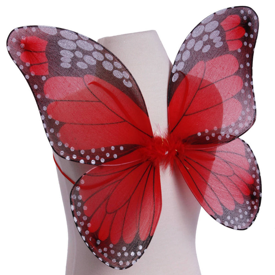 Red and Black Monarch Butterfly Wings Costume for Kids Side