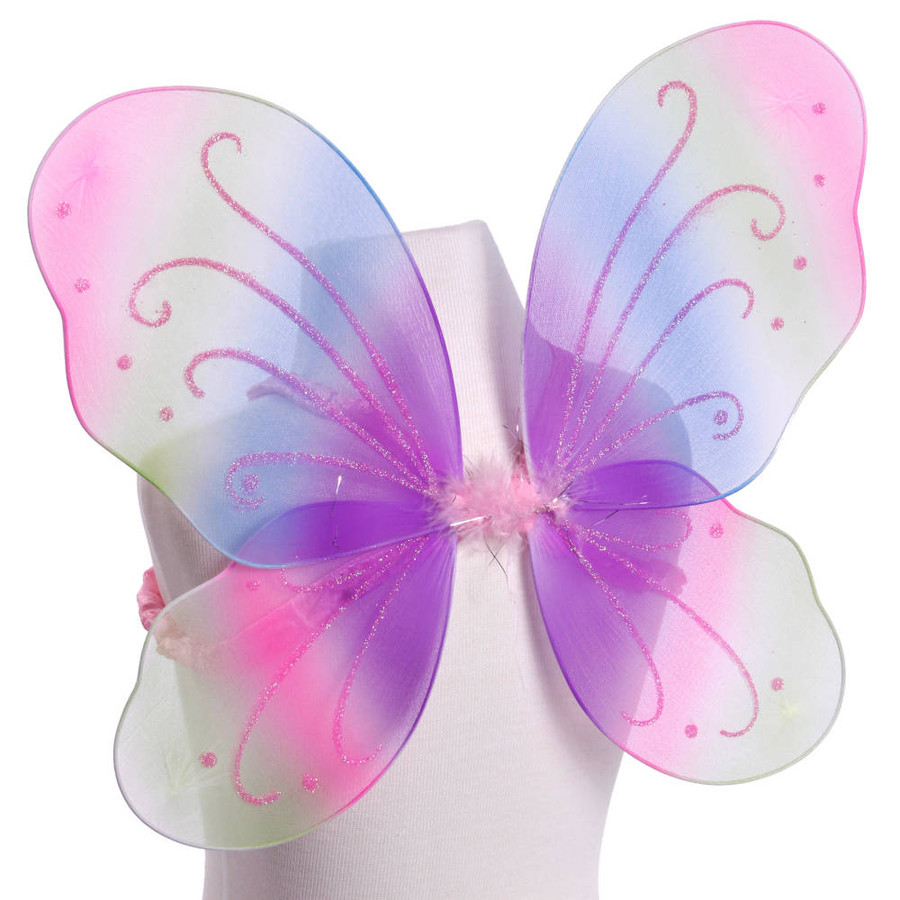 Rainbow Butterfly Fairy Wings With Pink Glitter Costume Side View
