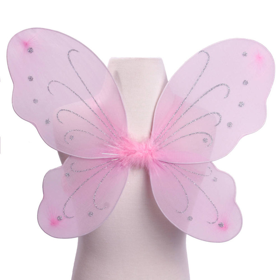 Light Pink with Silver Glitter Butterfly Fairy Wings Costume for kids Front