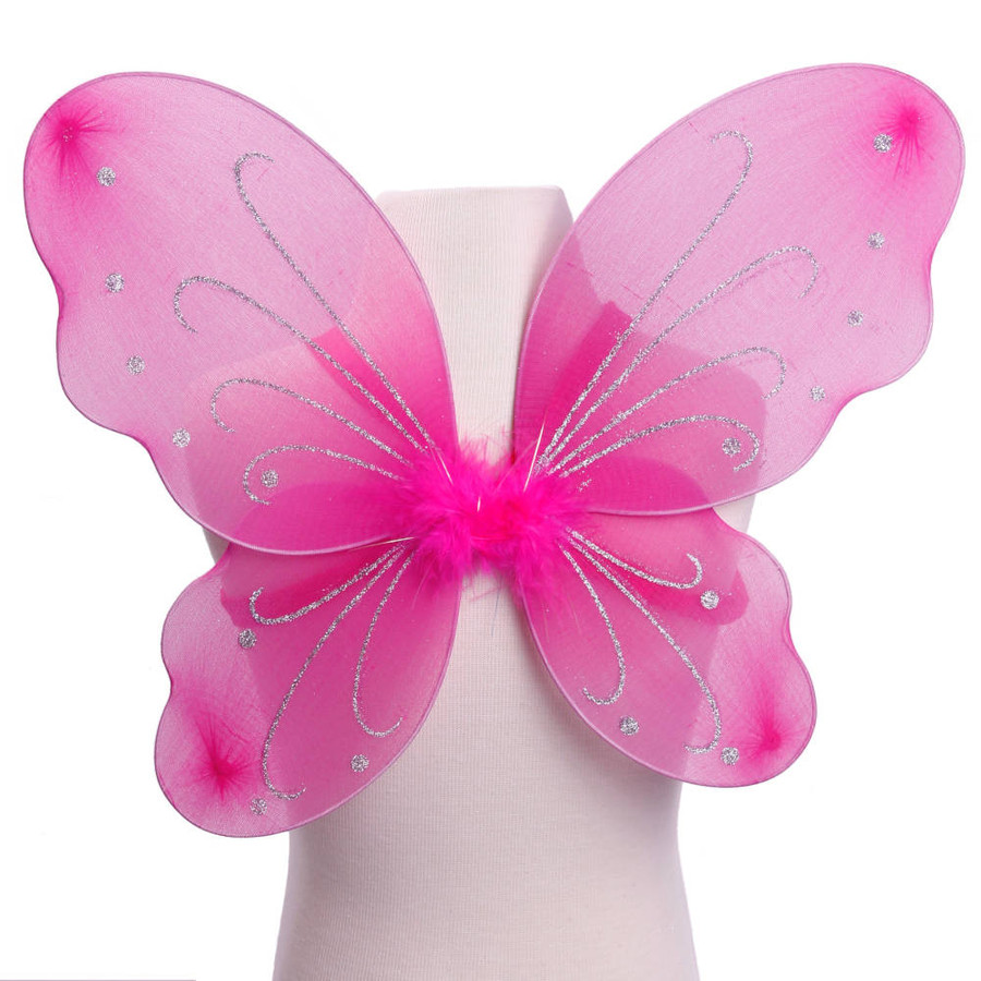 Dark Pink with Silver Glitter Butterfly Fairy Wings Costume for Kids Front