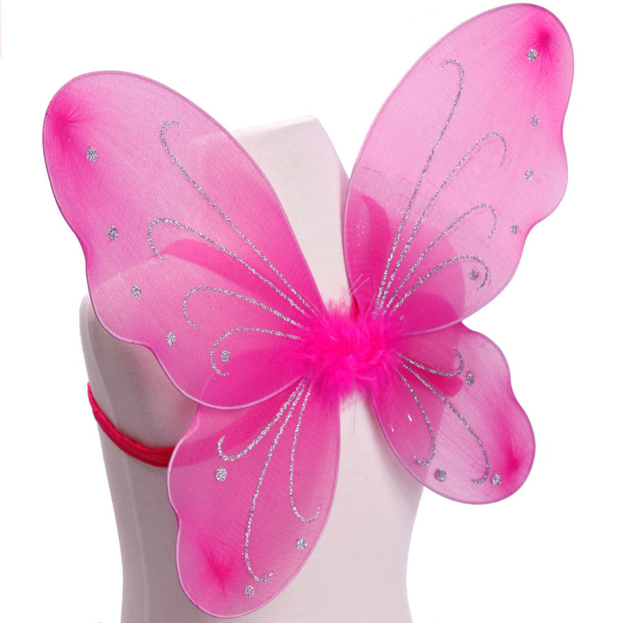 Dark Pink with Silver Glitter Butterfly Fairy Wings Costume for Kids Side