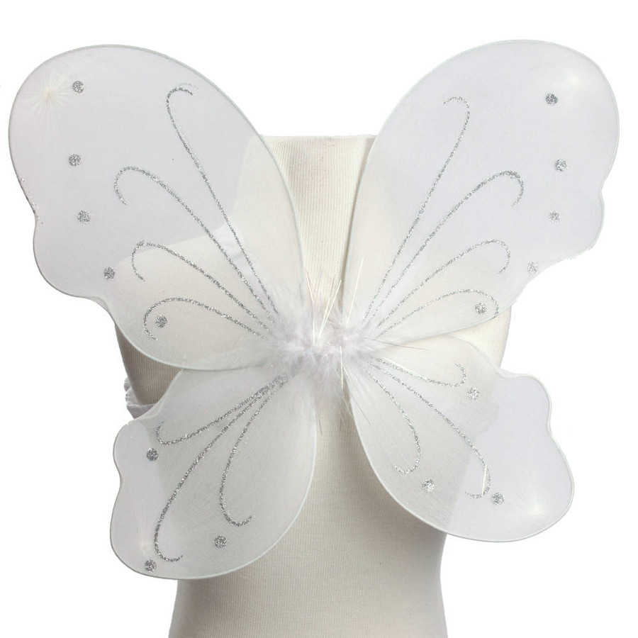 White with Silver Glitter Butterfly Fairy Wings Costume for Kids Front