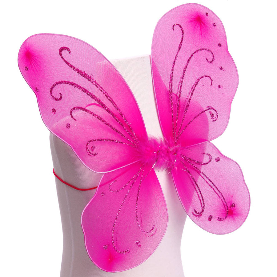 Dark Pink with Pink Glitter Butterfly Fairy Wings Costume for Kids Side