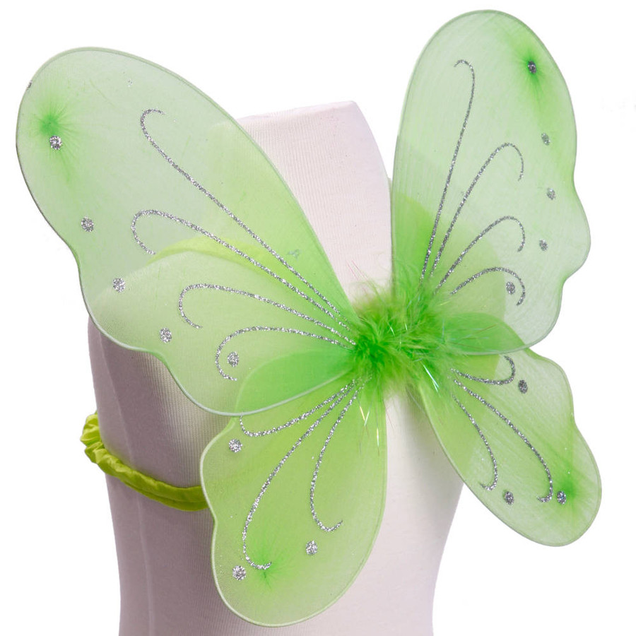 Light Green with Silver Glitter Butterfly Fairy Wings Costume for kids Side