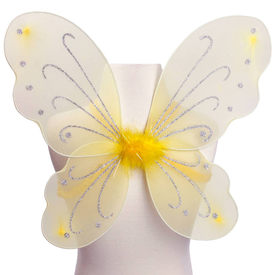 Yellow with Silver Glitter Butterfly Fairy Wings Costume for kids Front